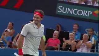 Roger Federer Freak Smash - Brisbane International 2014