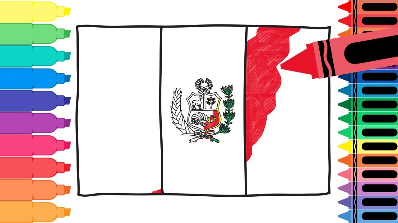 how to draw peru flag drawing the peruvian flag coloring pages