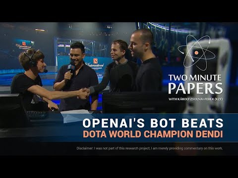 OpenAI's Bot Beats DOTA World Champion Dendi | Two Minute Papers #180