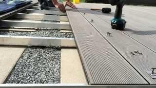 WPC Terrassendielen verlegen Montage Bambus WPC Dielen Alu Unterkonstrukion mit A2 Bohrschrauben