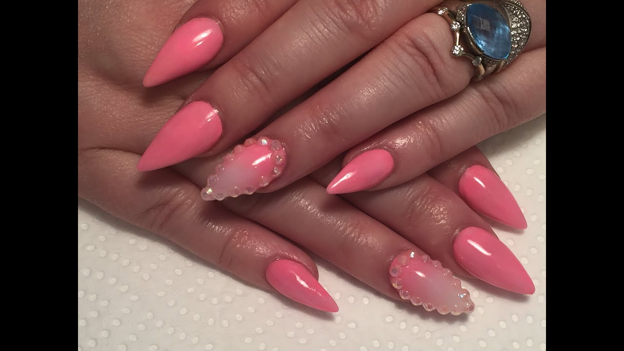 Acrylic nails, short stiletto sculpted nails, pink ...