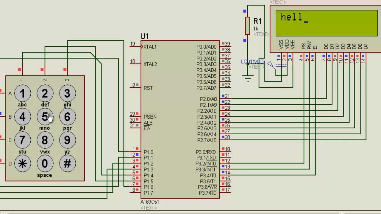 Tishitu Simulation For Keypad Interface With 8051 Microcontroller Circuit Diagram To 7 Segment Pic16f877a Alpha Numeric Numbers Display Youtube