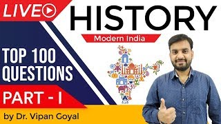 Modern Indian History | Top 100 MCQ for UPSC State PCS SSC CGL Railways by Dr Vipan Goyal | Part 1