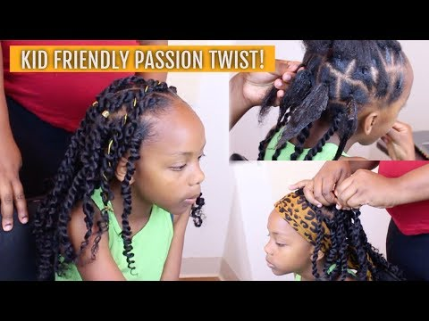 KID FRIENDLY PASSION TWISTS TUTORIAL RUBBER BAND METHOD