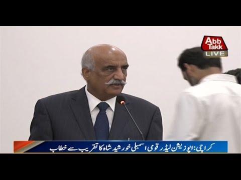 Karachi: Opposition Leader Khursheed Shah addresses a ceremony