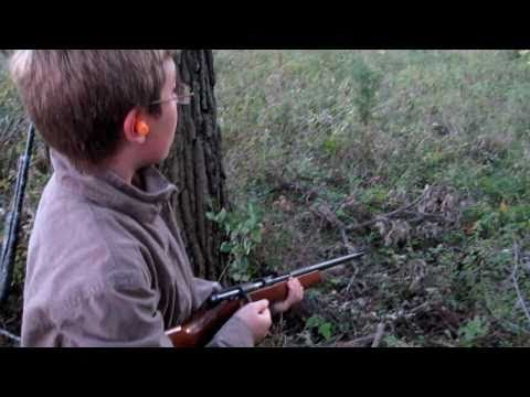 Craig shooting a 22 caliber rifle - Marlin model 25