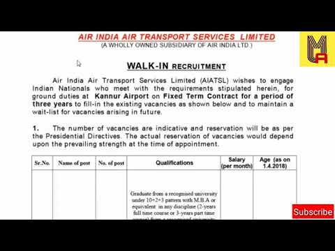 Air India Recruitment   10th/ITI/MBA/   Direct Vacancy   Walk in interview Notification MyJob Alert