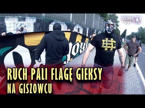 Ruch pali flagę GKS-u Katowice na Giszowcu (10.05.2018 r.)