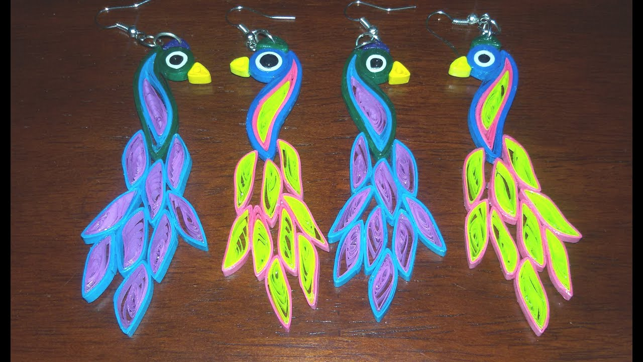 Papercraft 55. Quilling Peacock Earrings Tutorial New Design