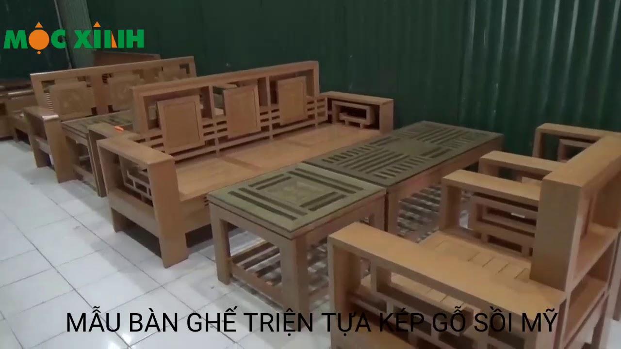 Bàn ghế phòng khách mẫu Triện tựa kép gỗ sồi mỹ