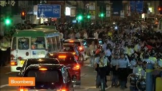 Hong Kong Police Use Pepper Spray on Protesters
