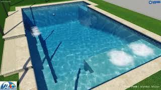 Brickman Swimming Pool with Turf & Travertine - Patio Pools