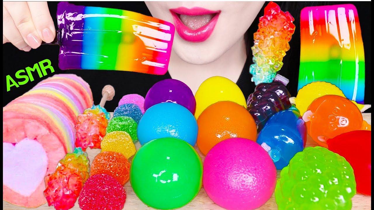 ASMR RAINBOW JELLY POP, RAINBOW TIKTOK JELLO, RAINBOW COTTON CANDY 무지개 젤리 팝, 틱톡 젤리 먹방 EATING SOUNDS