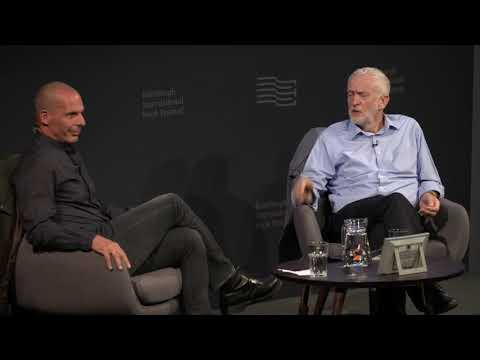 Jeremy Corbyn with Yanis Varoufakis at the Edinburgh Book Festival, August 20, 2018 | DiEM25