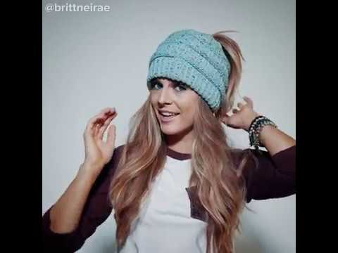 10a9521f564fdd Soft Knit Beanie Perfect for Ponytails & Buns - YouTube