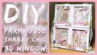 DIY Shabby Chic Farmhouse 3D Window - Spring Dollar Tree Room Decor - Mother's Day Gift Idea