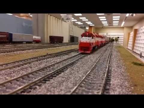 Frisco fast freight on the Oklahoma Model Railroad Association club layout. (2)