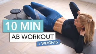 10 MIN ABS WITH WEIGHTS - for an extra strong core! you can also use a bottle of water I Pamela Reif