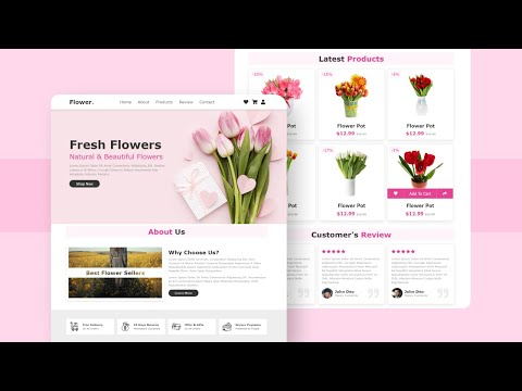 Create A Responsive E-Commerce Flower Shop Website Design Using Pure HTML & CSS Only