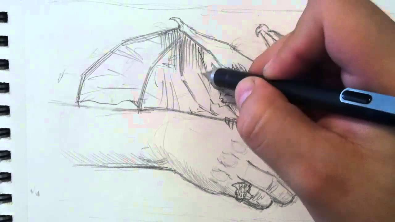 How To Sketch A Cute Baby Dragon (with Mechanical Pencil) 201611