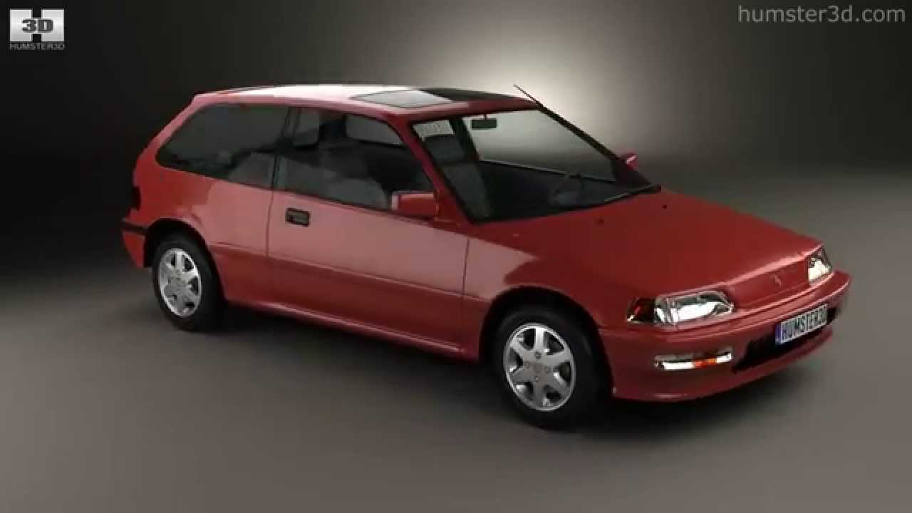 honda civic hatchback 1987 by 3d model store. Black Bedroom Furniture Sets. Home Design Ideas