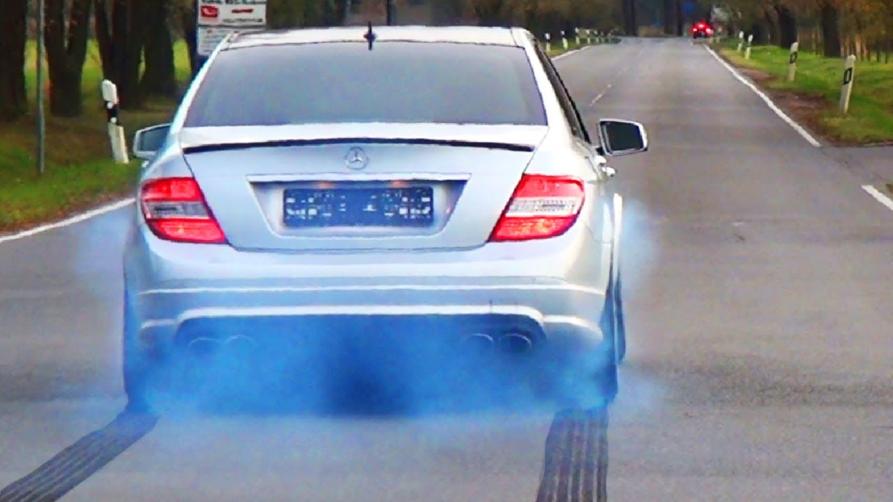 Mercedes C63 Amg Acceleration Sound Tire Smoke Full