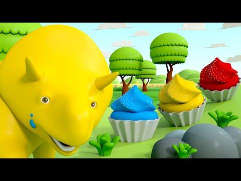 Dino robi ciasteczka o różnych kolorach - ucz się z Dino dinozaurem 👶 Bajki Edukacyjne dla Dzieci