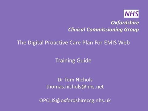 Training Video - The Digital Proactive Care Plan for EMIS Web