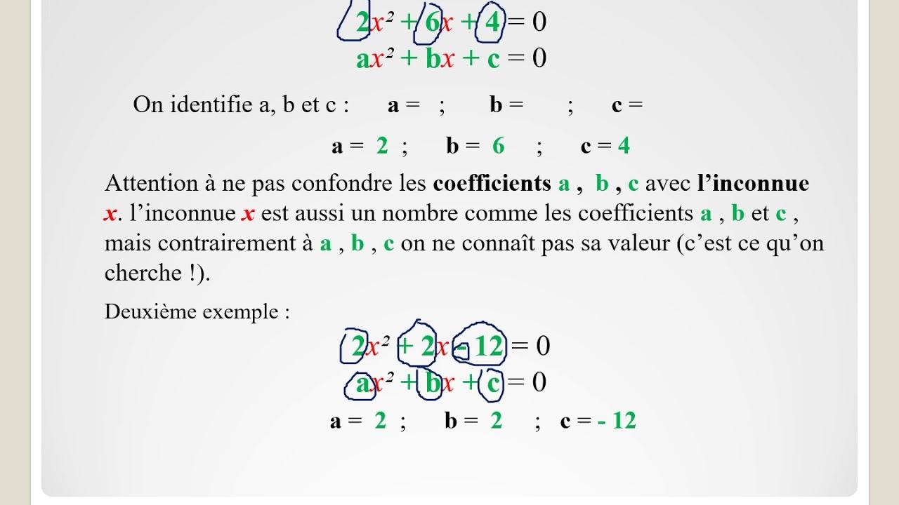 Comment résoudre une équation du second degré III PARTIE 1 ...