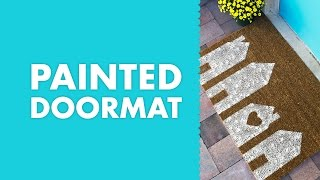 DIY Painted Doormat with Row Houses and Heart Design