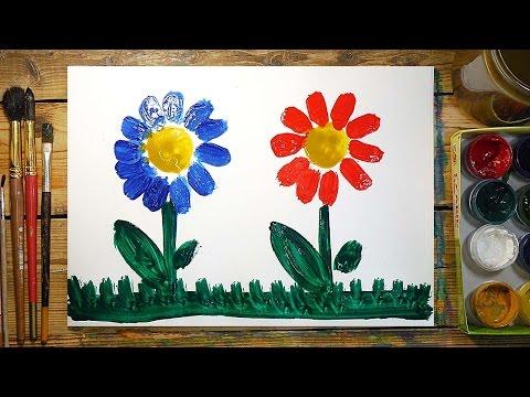 Как нарисовать 2 Цветка   Простые рисунки красками   Урок рисования для детей