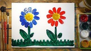 Как нарисовать 2 Цветка | Простые рисунки красками | Урок рисования для детей