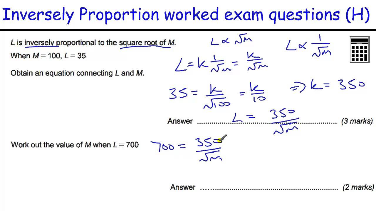 worksheet Worksheet On Direct And Inverse Proportion how to do direct and inverse proportion gcse maths revision worked exam questions