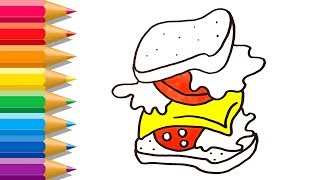 How to Draw Sandwich   Drawing Food for Kids   Sandwich Coloring Pages for Children