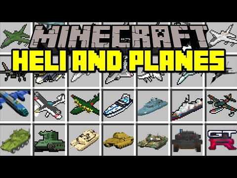Minecraft HELICOPTERS AND PLANES! | 100 HELICOPTERS/PLANES, TANKS, GUNS, & MORE! | Modded Mini-Game