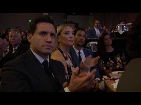 Jonah Hill Presents Documentary Award to Leonardo DiCaprio &