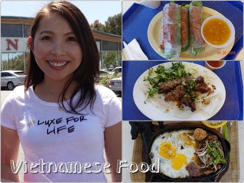 Vietnamese Food in San Jose – Steamed Rice Roll, Spring Rolls, Sizzling Beef Plate