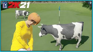 PLANET OF THE COWS GOLF - Fantasy Course Of The Week #48   PGA TOUR 2K21 Gameplay