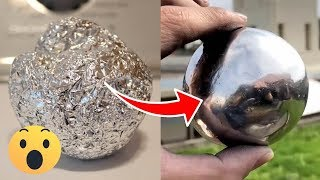 DIY Mirror Polished Japanese aluminum Foil Ball Challenge at Home Easy!