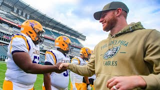 Eagles' Carson Wentz welcomes HS players