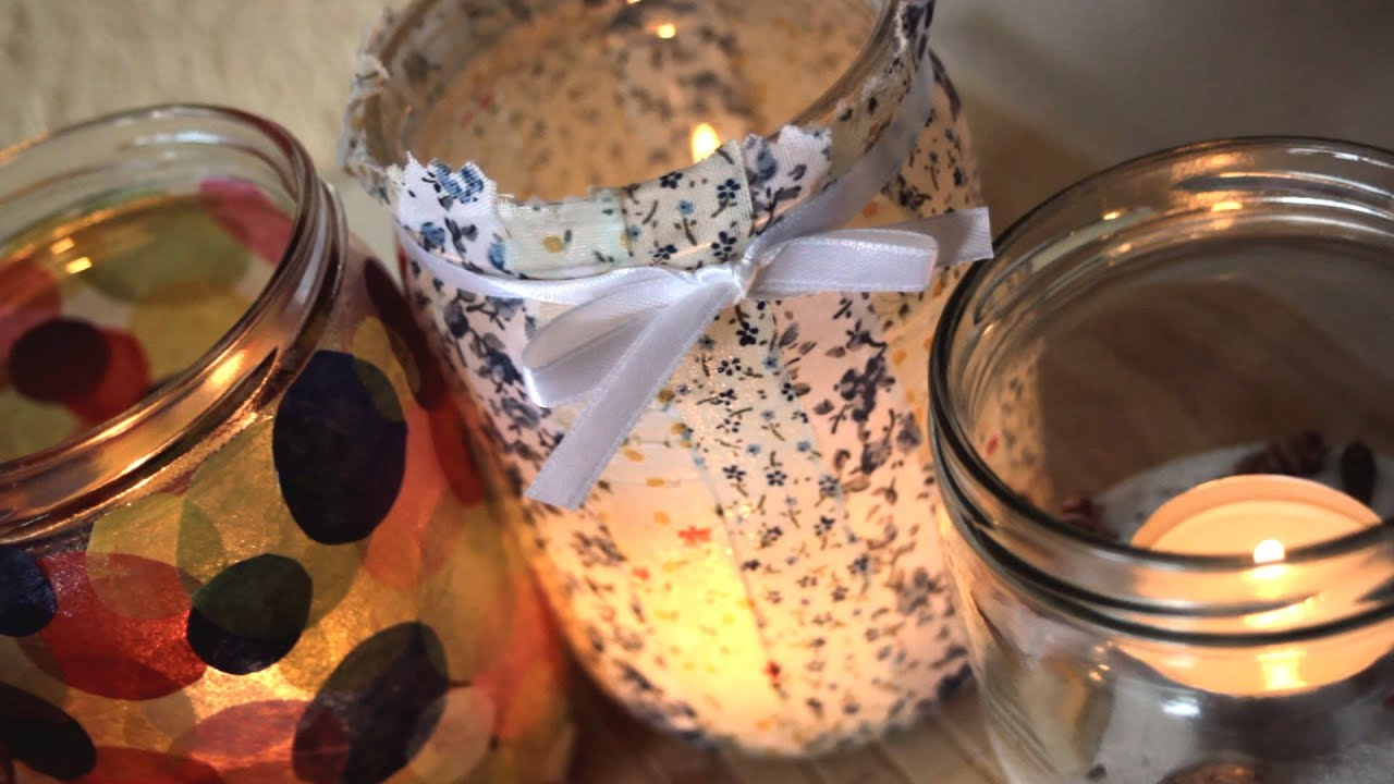 diy 5 ways how to decorate jars into candles home decor youtube