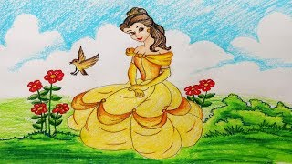 How to draw princess belle.Step by step(easy draw)