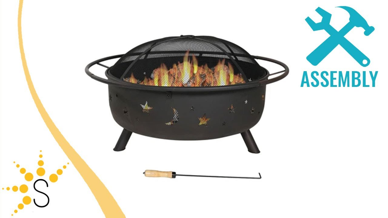 sunnydaze 42 inch large cosmic outdoor patio fire pit with spark