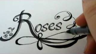How To Draw ROSE Letters With Roses - How To Draw Roses Fancy Letters