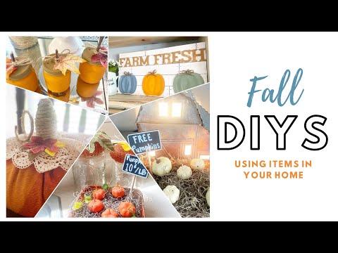 FALL DIY'S USING ITEMS AROUND YOUR HOME | EASY FALL DIY'S | DOLLAR TREE FALL DIY'S