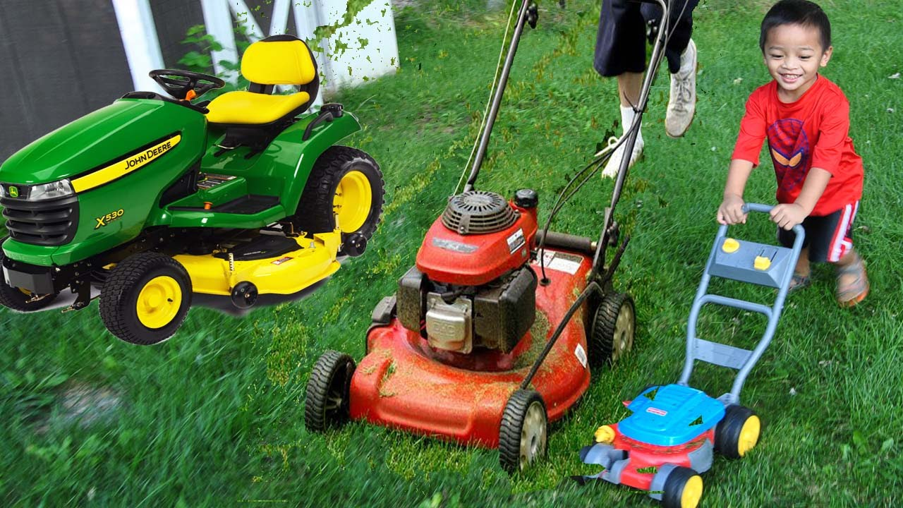 children helping father mowing