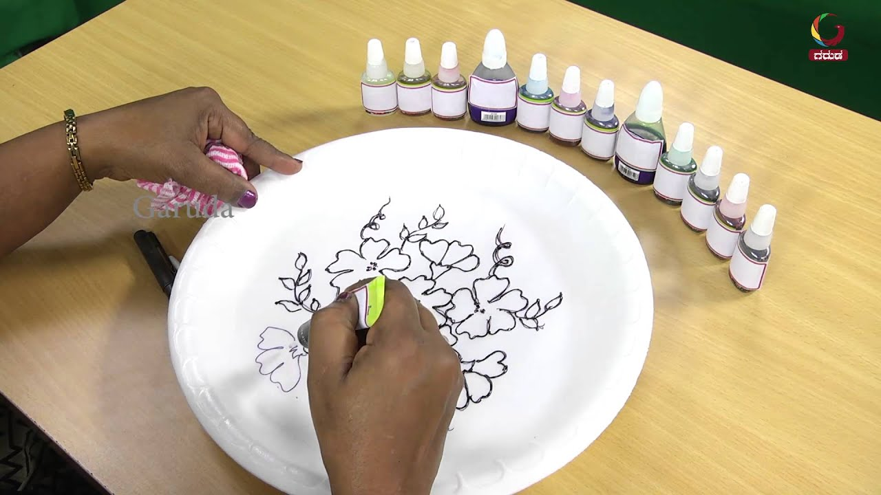 How to paint a flower on a plates painting on glass for Where to buy ceramic plates to paint