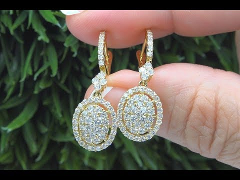 Certified White Diamond Dangle Cocktail Earrings 18k Yellow Gold 1.70 TCW - C1071