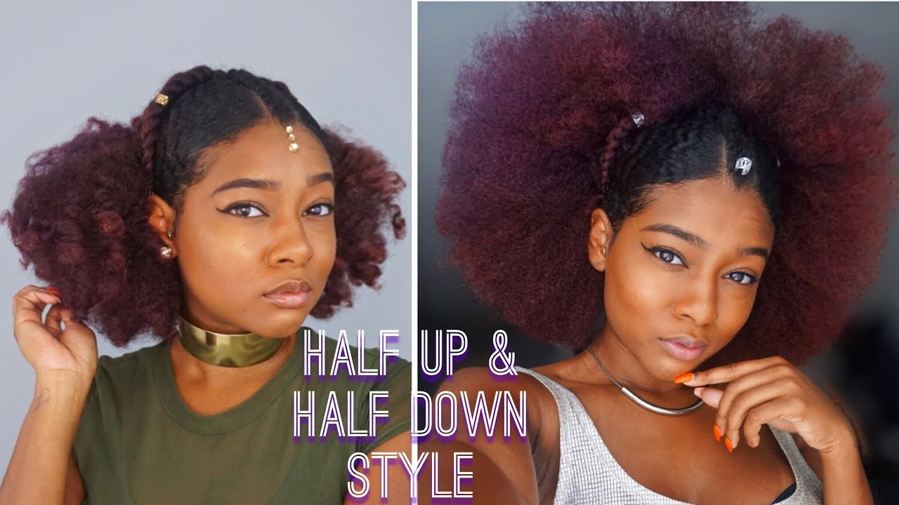 Natural Black Summer Hairstyles: Slick Back Half Up Half