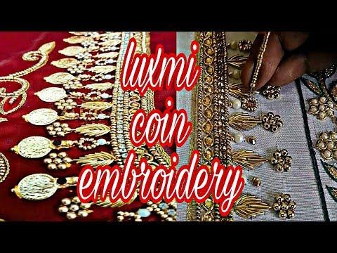 Luxmi coin embroidery | Hand embroidery | zardoshi work | pearl work